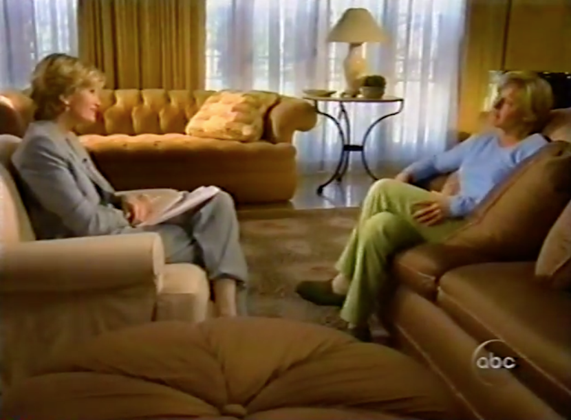 DeGeneres speaks with Diane Sawyer in 1998.