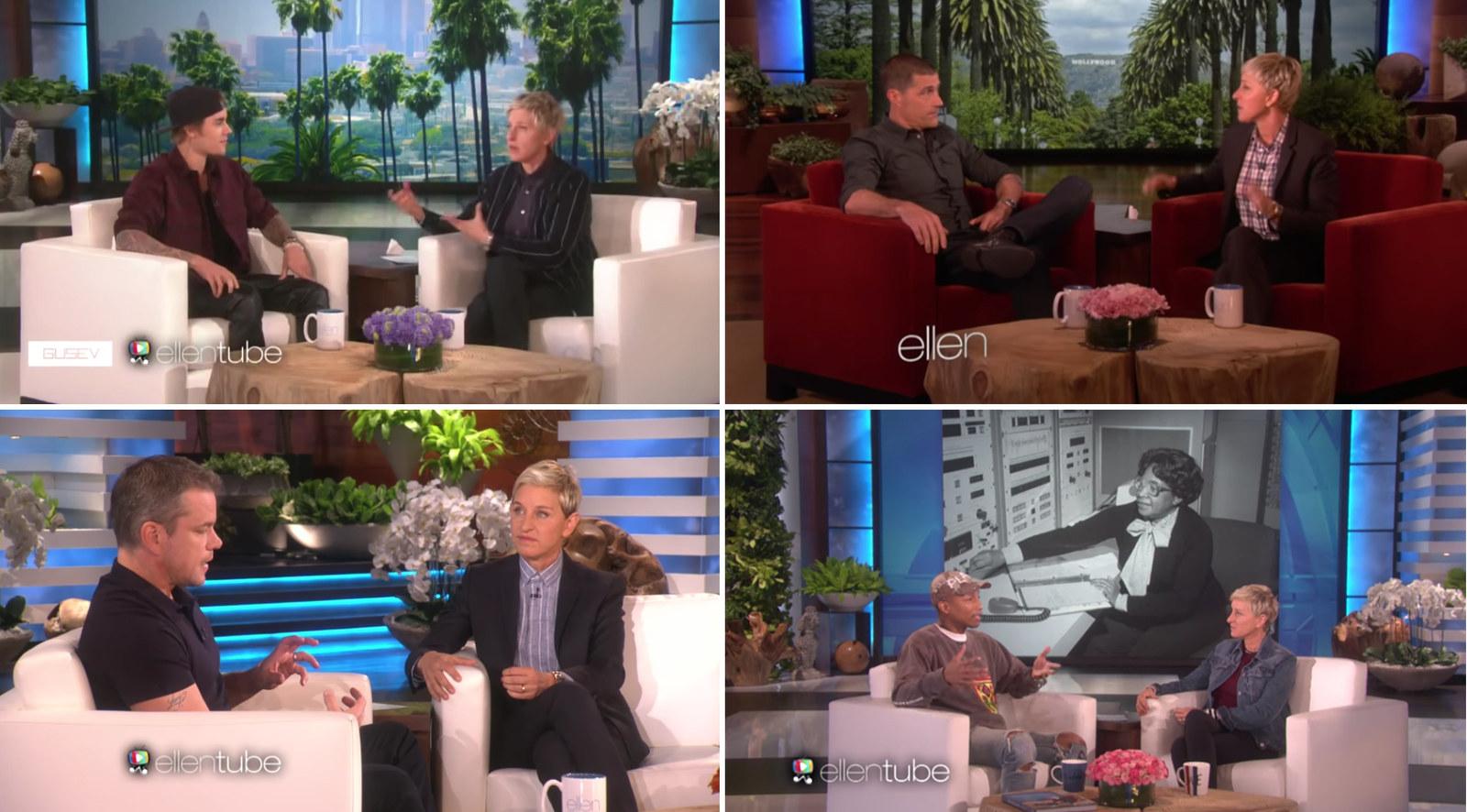 Clockwise from top left: DeGeneres with Justin Bieber in 2015, Matthew Fox in 2012, Pharrell in 2017, and Matt Damon in 2015.
