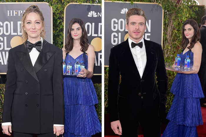Jamie Lee Curtis Just Dragged The Fiji Water Girl For Photobombing Pictures At The Golden Globes