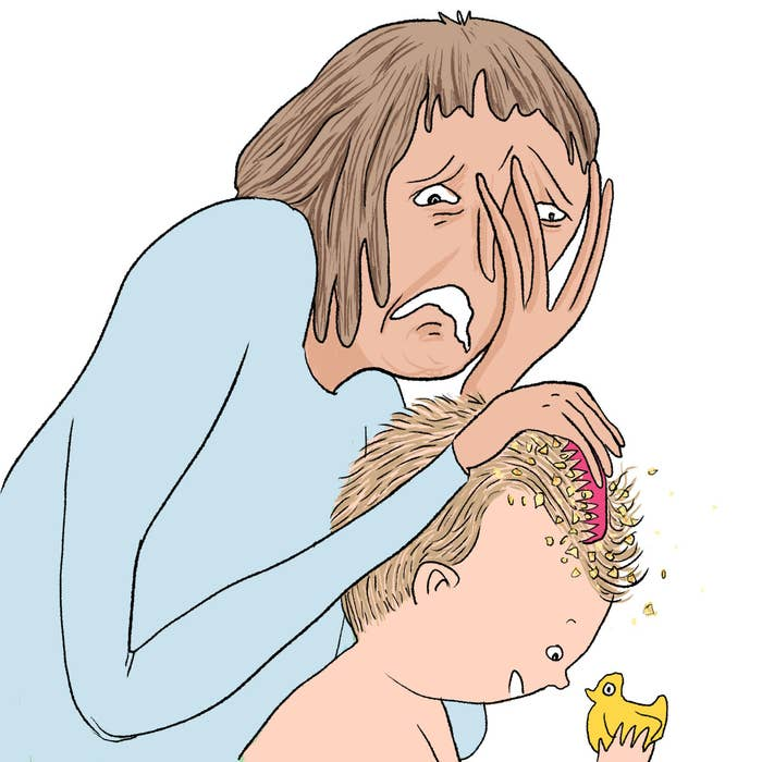 The cradle cap comes away like greasy cornflakes. It's so gross it gives you goosebumps – but sort of in a good way? Cradle cap is one of those things which is very gross on someone else's baby, but sort of intriguing on your own.