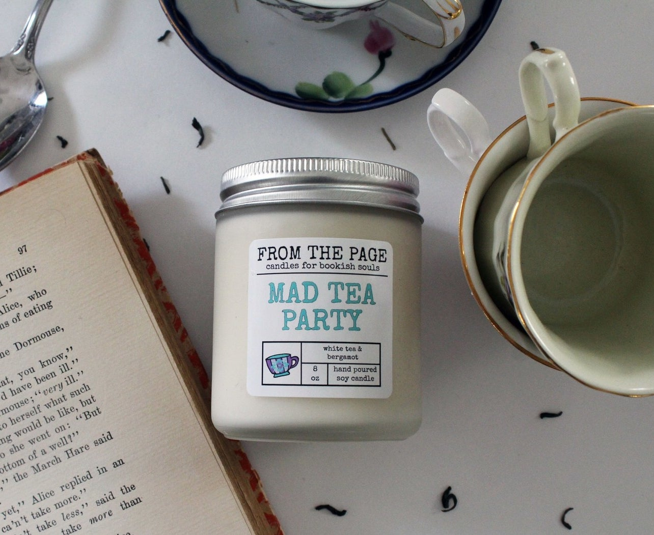If you're wondering what a mad tea party smells like, it smells like white tea and bergamot. This candle has approximately 40–50 hours of burn time. Get it from FromthePage on Etsy for $12.50.