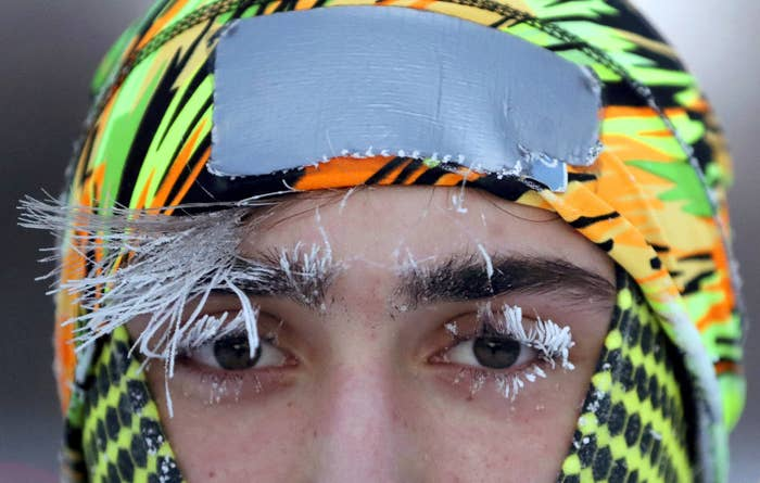 Frost covers University of Minnesota student Daniel Dylla's face during a morning jog along Mississippi River Parkway on Jan. 29, in Minneapolis.