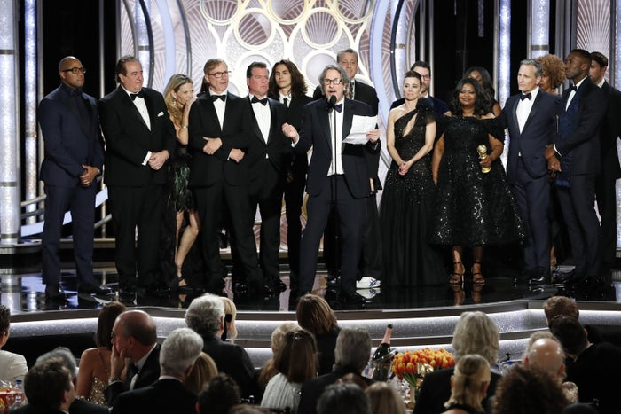 Peter Farrelly and the cast of Green Book accept the Golden Globe award for Best Motion Picture, Musical or Comedy, on Jan. 6.