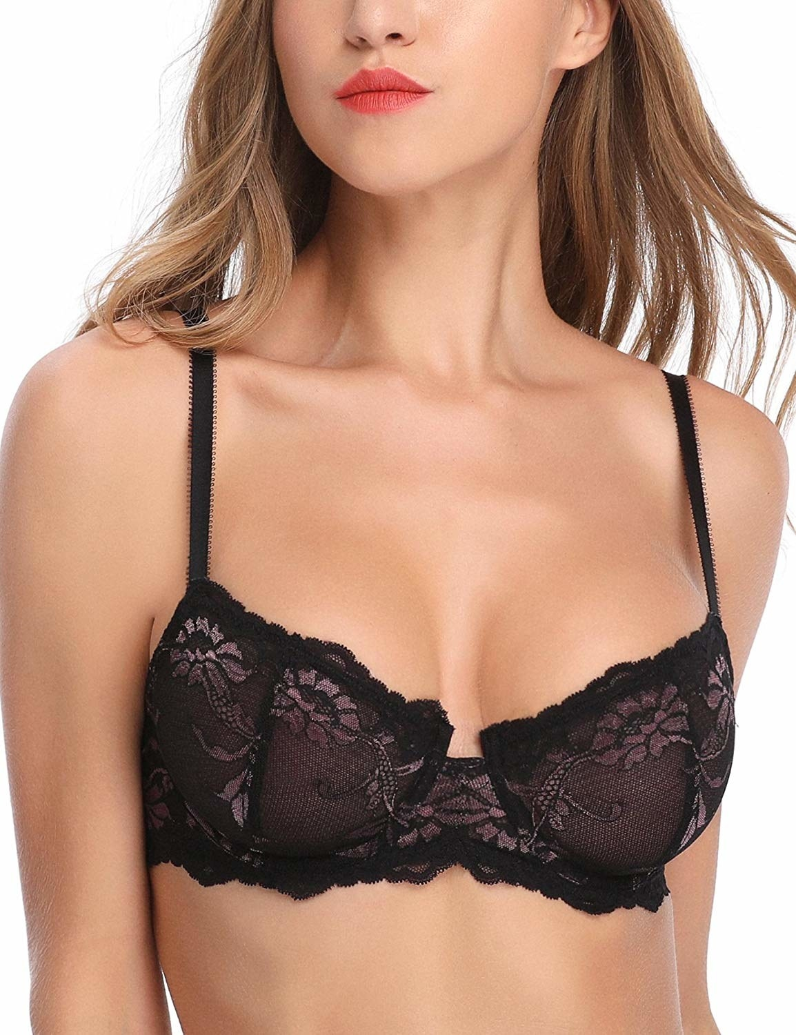 A model wearing the bra in black