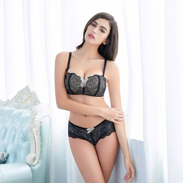 aa94570b458 A gorgeous lace wire-free push-up bralette and matching panties set almost  too pretty to wear under clothes.