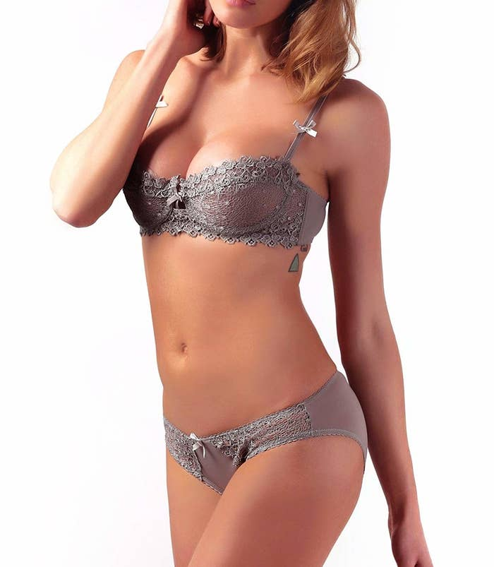 592dd71508 An elegant matching push-up bra and lace undie set that s actually cuter  than any of the clothes you ll wear over it.