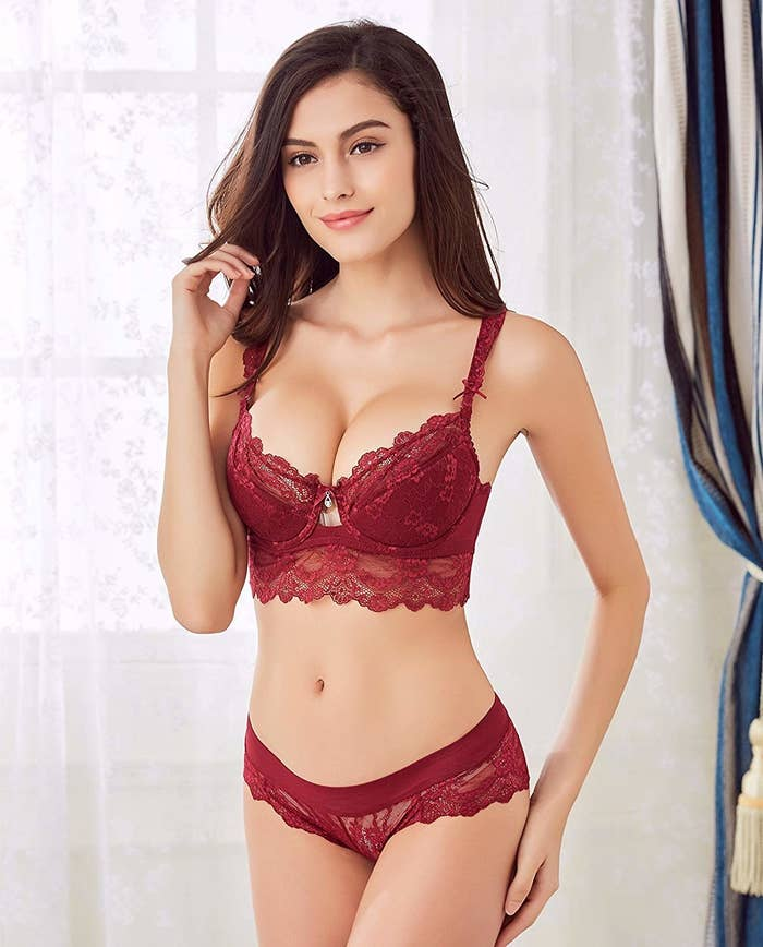 09487f0f3e An embroidered lace push-up bra and matching undie set so you can get all  matchy-matchy beneath the sheets — or your clothes.