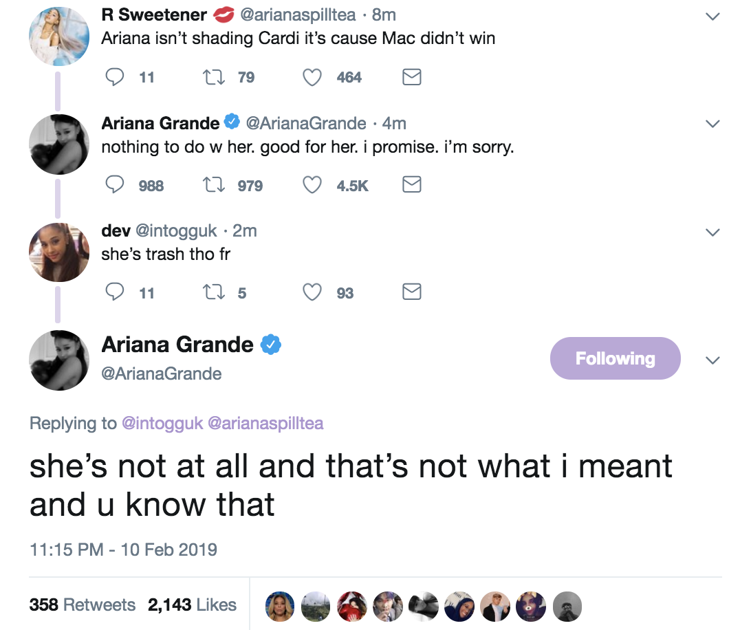 """Ariana clarified that she was not shading Cardi at all and even defended her against fan that called Cardi """"trash"""""""