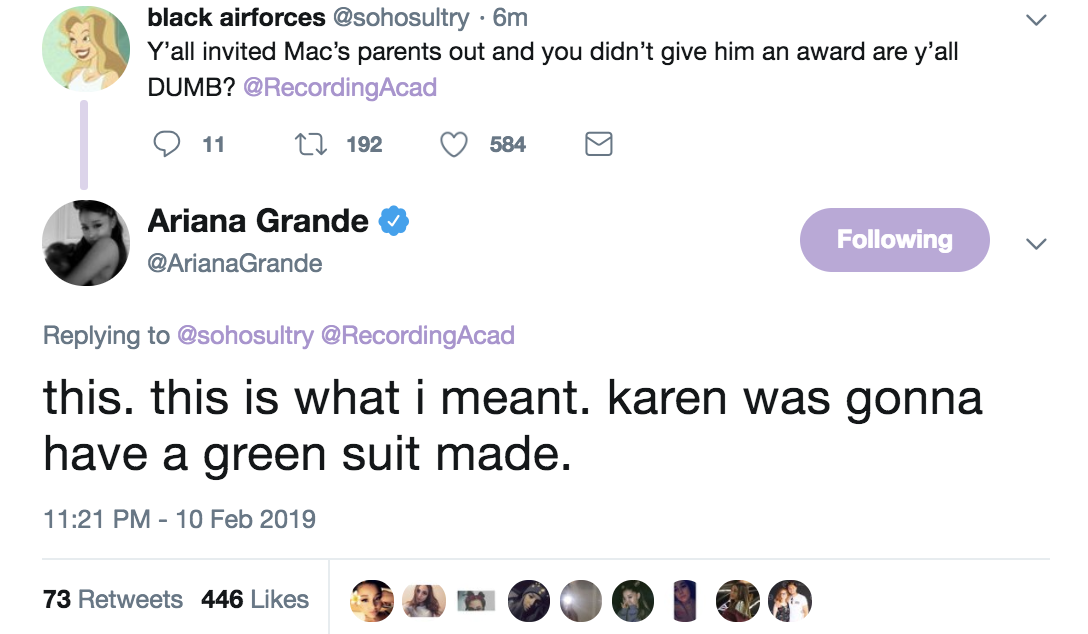 Ariana clarified  AGAIN , agreeing with a fan who tweeted this. She said Mac's mom, Karen, was going to have a suit made and that Mac Miller literally slept in the studio.