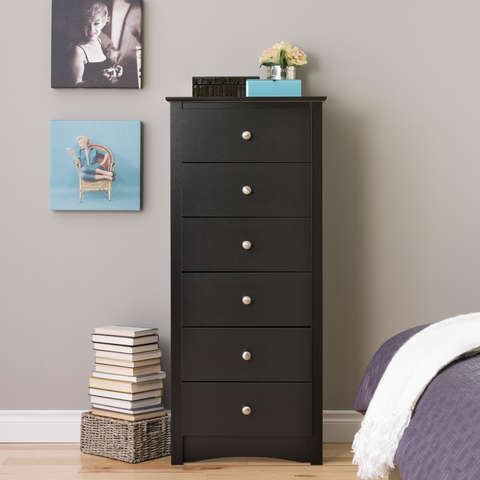 """Promising review: """"This dresser is beautiful! My daughter can fit more clothing in this that I had originally predicted! It is VERY sturdy, but not too heavy. It is perfect if you want something thinner than the usual dressers out there. I ordered this online and had it shipped to my home. It was easy to assemble, but take your time and don't rush putting the drawers together! It will all be worth it when you're done!"""" —FanOfGoodStuffPrice: $148.99"""