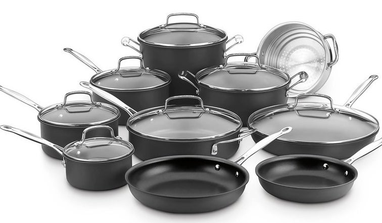 The set includes an eight- and ten-inch skillet,12-inch covered skillet, three and a half quart covered sauté pan with helper handle, one-quart, two-quart and 3-quart covered saucepans, 4-quart covered dutch oven, multi-steamer insert, and 8-quart covered stockpot.Price: $186.28 (originally $670)