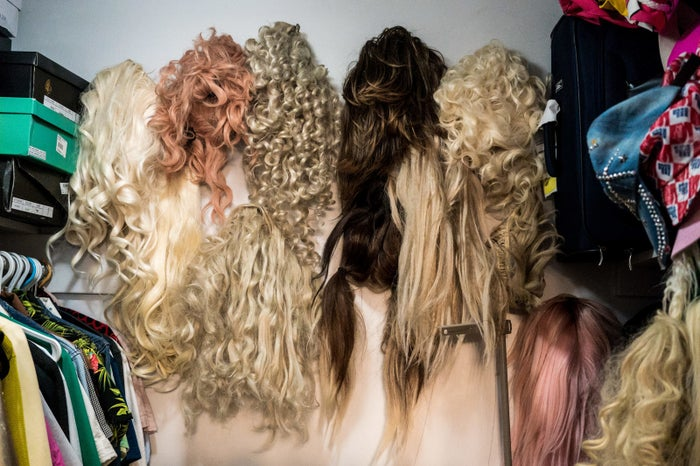 The wigs range in texture, length, and color. Each wig represents different sides to the drag character and are lovingly cared for and displayed.