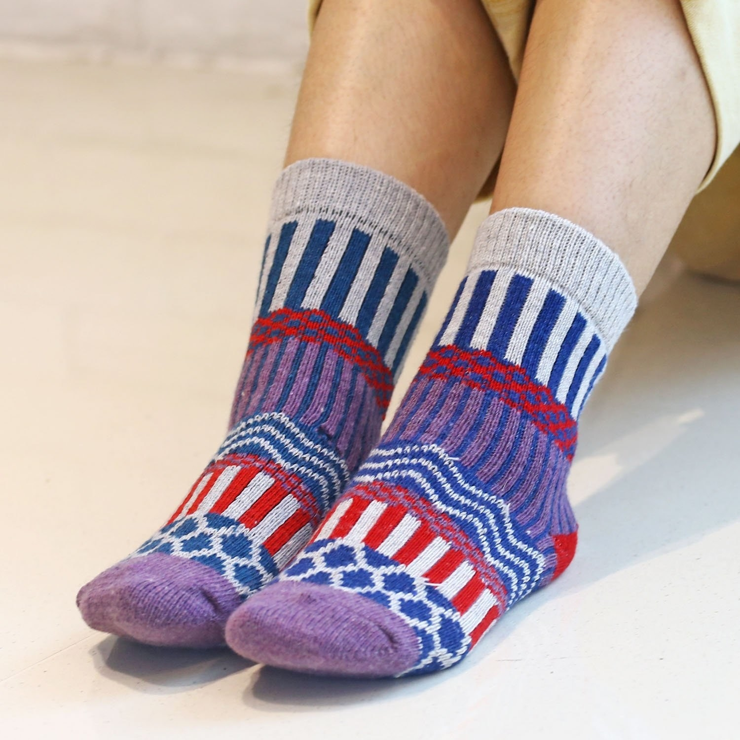 "Promising review: ""Really like these socks! They are substantial, soft, and comfy, but aren't too thick or heavy. (BTW I ordered a different brand of patterned socks along with these last year, and those feel more synthetic-y, tighter, and thinner, in contrast to these nice, soft cotton-and-wool ones, so I'm ordering two more boxes of these.) I like the fun, pretty look of these a lot and was tickled that a bunch of much younger gals in a dance class I wore them to kept saying how much they liked them. I wear a 7.5 or 8 shoe, and these fit perfectly. I wore and washed them a lot all last winter (they became my go-to socks, which is why I'm buying more), and the fabric, colors, texture, etc., are still like new."" —JeanPrice: $12.99 (for a 4-pack)"