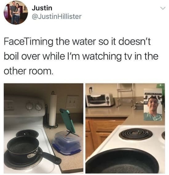 someone facetiming their noodles cooking