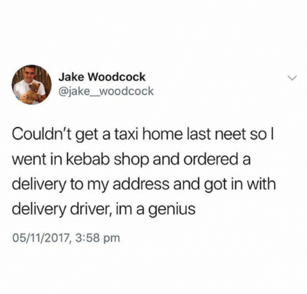 someone who needed to get home so they ordered delivery and got in the car with the driver
