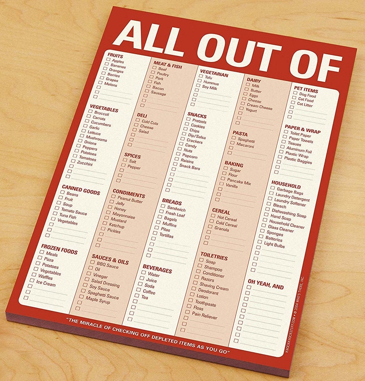 """the checklist with a red border labeled """"all out of"""""""