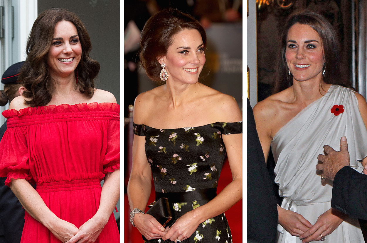 It's worth pointing out that the difference in timing and tone of the two events could be a factor in why Kate's dress was deemed more acceptable than Meghan's by commentators. Fashion expert Mark Heyes specifically pointed out that a dress exposing the shoulder would never usually be worn at a prestigious daytime event, suggesting maybe wearing a similar dress in the evening would be more acceptable.