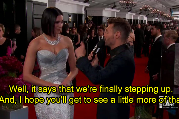"""Dua Lipa Shaded The Grammy President Who Told Women To """"Step It Up"""" And It's Iconic"""