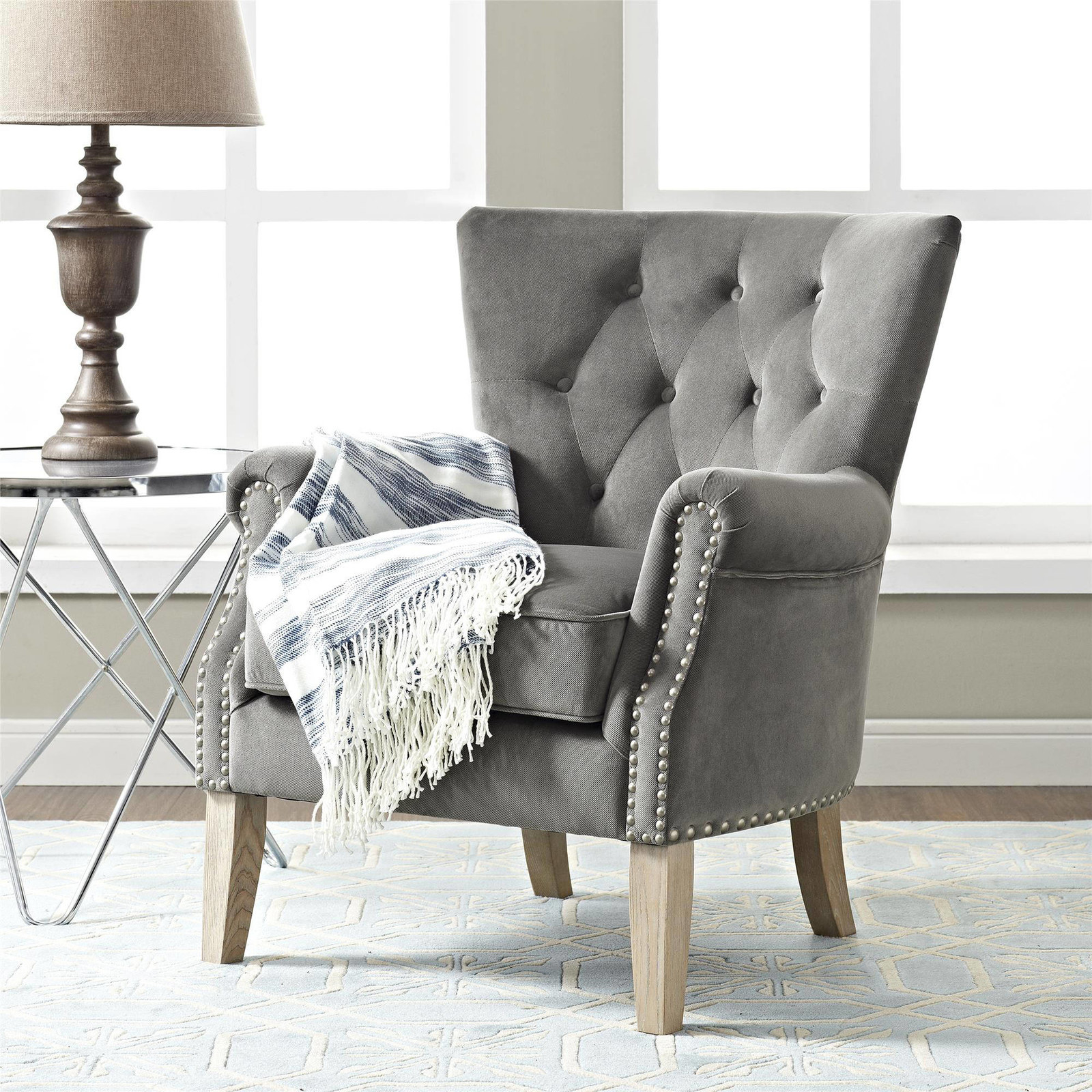 """Promising review: """"Perfect size for bedroom corner accent chair. Nice, plush seat cushion, construction seems very sturdy, solid. Beautiful, soft, luxurious feel to the fabric. It matches my bedroom furniture perfectly. Came fully assembled except for chair legs. I'm very happy with my purchase."""" —frugal4funPrice: $169 (available in two colors)"""