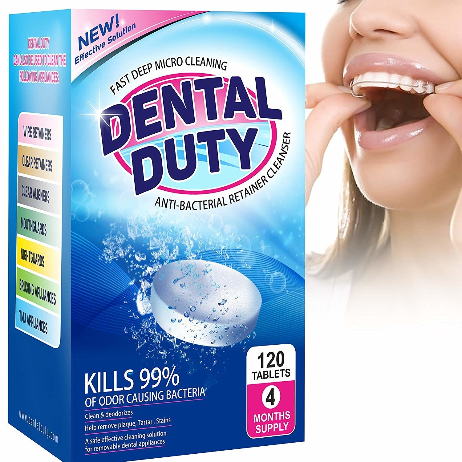 """SO HOW DOES THIS WORK? Drop a tablet into warm water, add in your retainer, and leave it in for about 15 minutes. The result? A clean, fresh, odorless retainer. Psst, these tablets also work for dentures, night guards, and Invisalign. Promising review: """"This stuff cleans so thoroughly and gets rid of the nasty smell that my aligners were getting. So glad I bought this!""""—Subway ReaderGet a pack of 120 from Amazon for $14.99."""