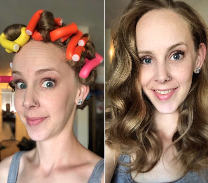 reviewer using the rods to create beachy waves in their hair