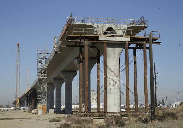 The high-speed rail under construction in Fresno in 2017.