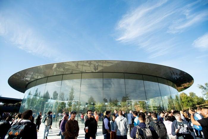 Attendees gather for a product launch event at Apple's Steve Jobs Theater on Sept. 12, 2018, in Cupertino, California.