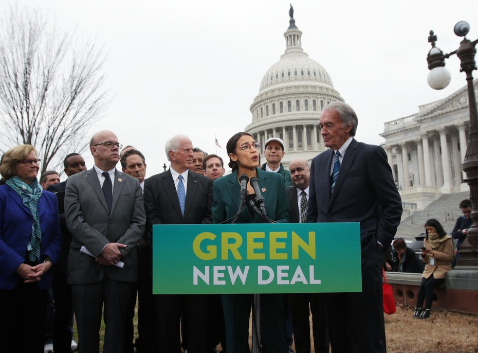 Rep. Alexandria Ocasio-Cortez (D-NY) and Sen. Ed Markey (D-MA) at a press conference about the Green New Deal.