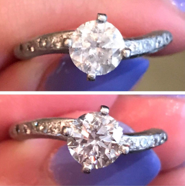"""Promising review: """"I worked in a fine jewelry store for several years that sold this product. I was always impressed with the instant shine the diamond stick provided! The brush tip is very helpful for getting under the stones and in the setting where gunk builds up, which reduces that brilliant shine. I recently got engaged and immediately purchased a diamond dazzle stick of my own. You simply brush, rinse, dry and go. I don't feel this product replaces the need to professionally clean your jewelry every now and then, but it does help with the maintenance of that new, shiny sparkle."""" —Amazon CustomerGet it from Amazon for $5.49."""