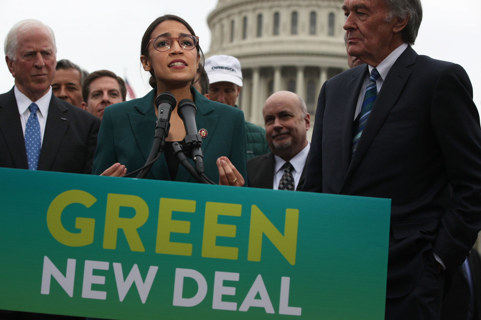 WASHINGTON, DC - FEBRUARY 07: U.S. Rep. Alexandria Ocasio-Cortez (D-NY) speaks as Sen. Ed Markey (D-MA) (R) and other Congressional Democrats listen during a news conference in front of the U.S. Capitol February 7, 2019 in Washington, DC. Sen. Markey and Rep. Ocasio-Cortez held a news conference to unveil their Green New Deal resolution.