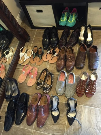 buncha shoes on the flloor