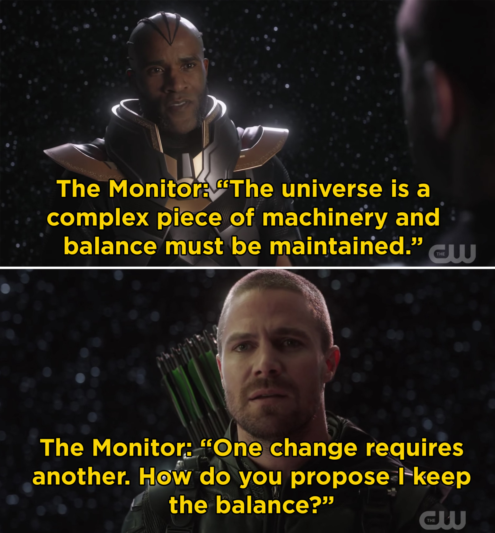 In the last crossover, Oliver met with the Monitor in order to save Barry and Kara from dying. We know that Barry and Kara survive, but it remains a mystery as to what Oliver traded for their safety.
