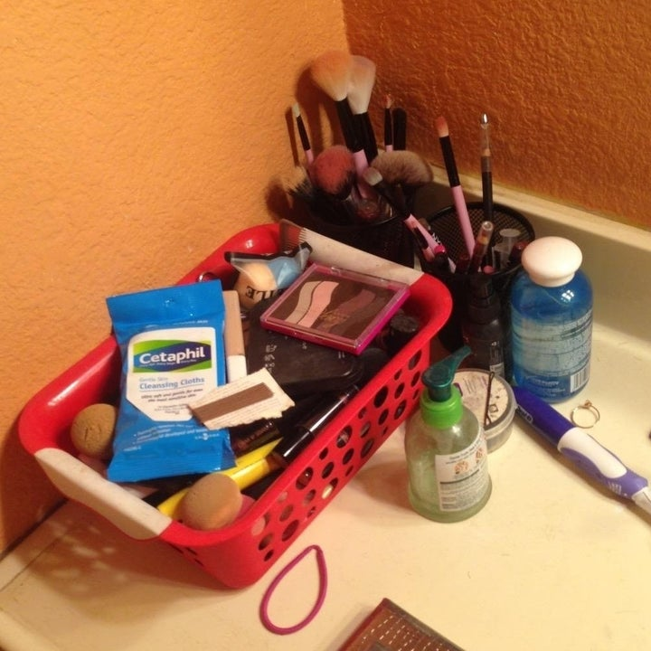various beauty items strewn about the counter