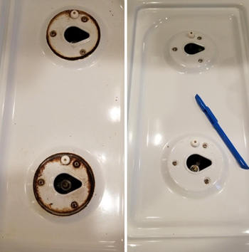 a before and after photo set displaying a reviewer's stovetop after using the scratch-free scraper tool