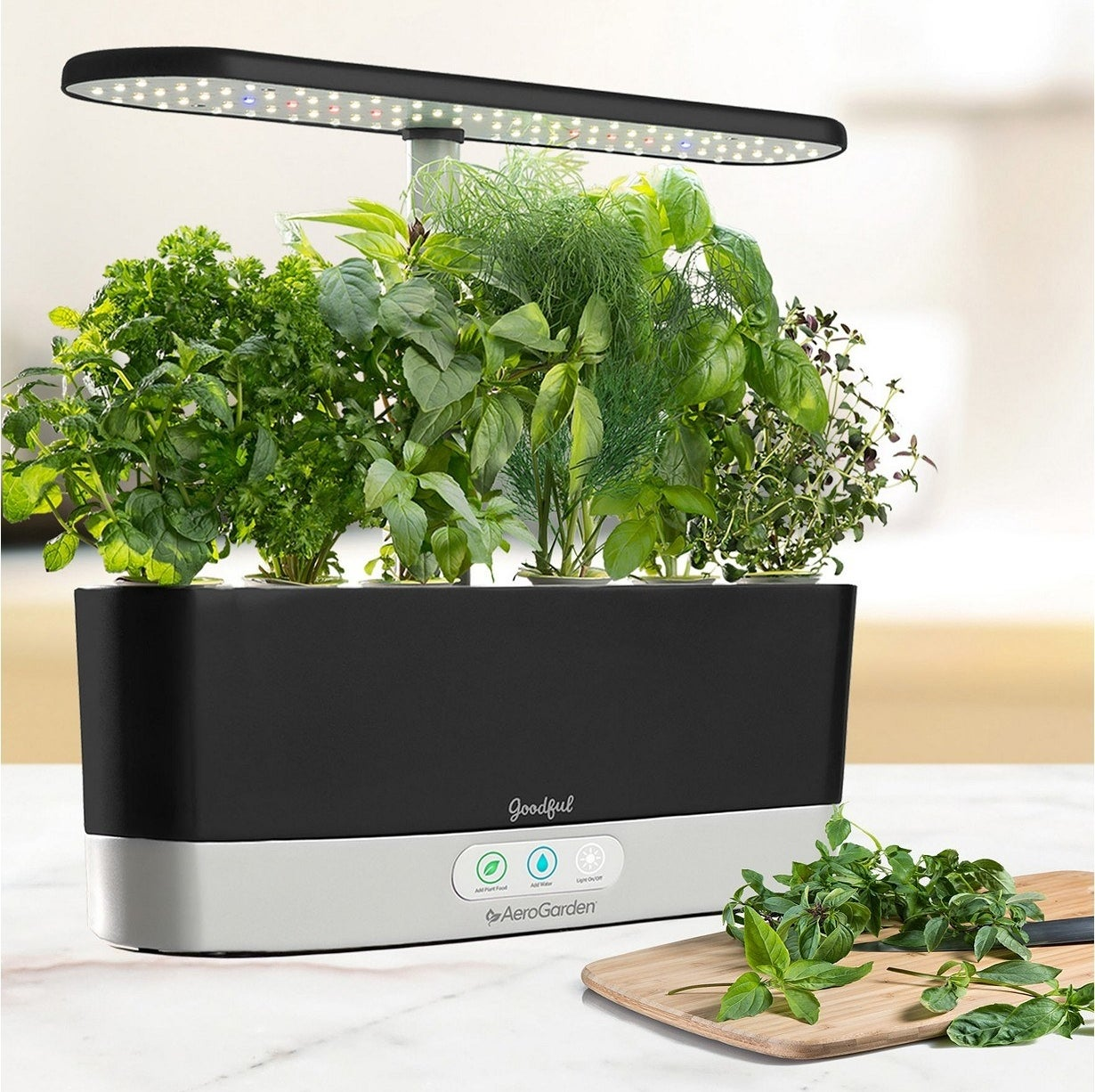 It comes with Miracle-Gro plant food and seeds to grow mint, thyme, curly parsley, dill, Genovese basil, and Thai basil.Check out BuzzFeed's full review of this garden!Get it from BuzzFeed's Goodful line, exclusively at Macy's for $129.99 (originally $189.99, available in three colors).