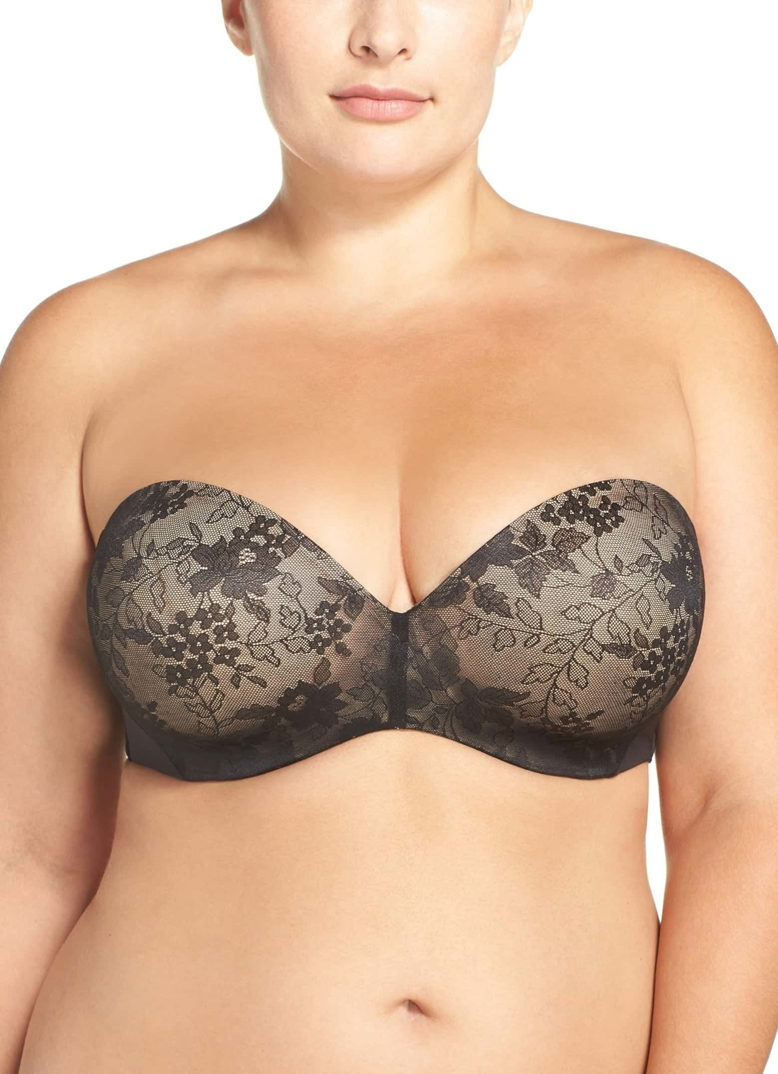 "Promising review: ""I love this bra. I wear a 42DD so it's hard to find strapless bras that fit! This one stays put and has a great shape. Originally I wanted nude, but because it was sold out in my size, I went with the black one which is more like a very light black over nude, it's so neutral and pretty. I even recommended this style to someone else who ended up buying it too."" —SouthernCali123Get it from Nordstrom for $65 (available in sizes 40DDD–42H)."