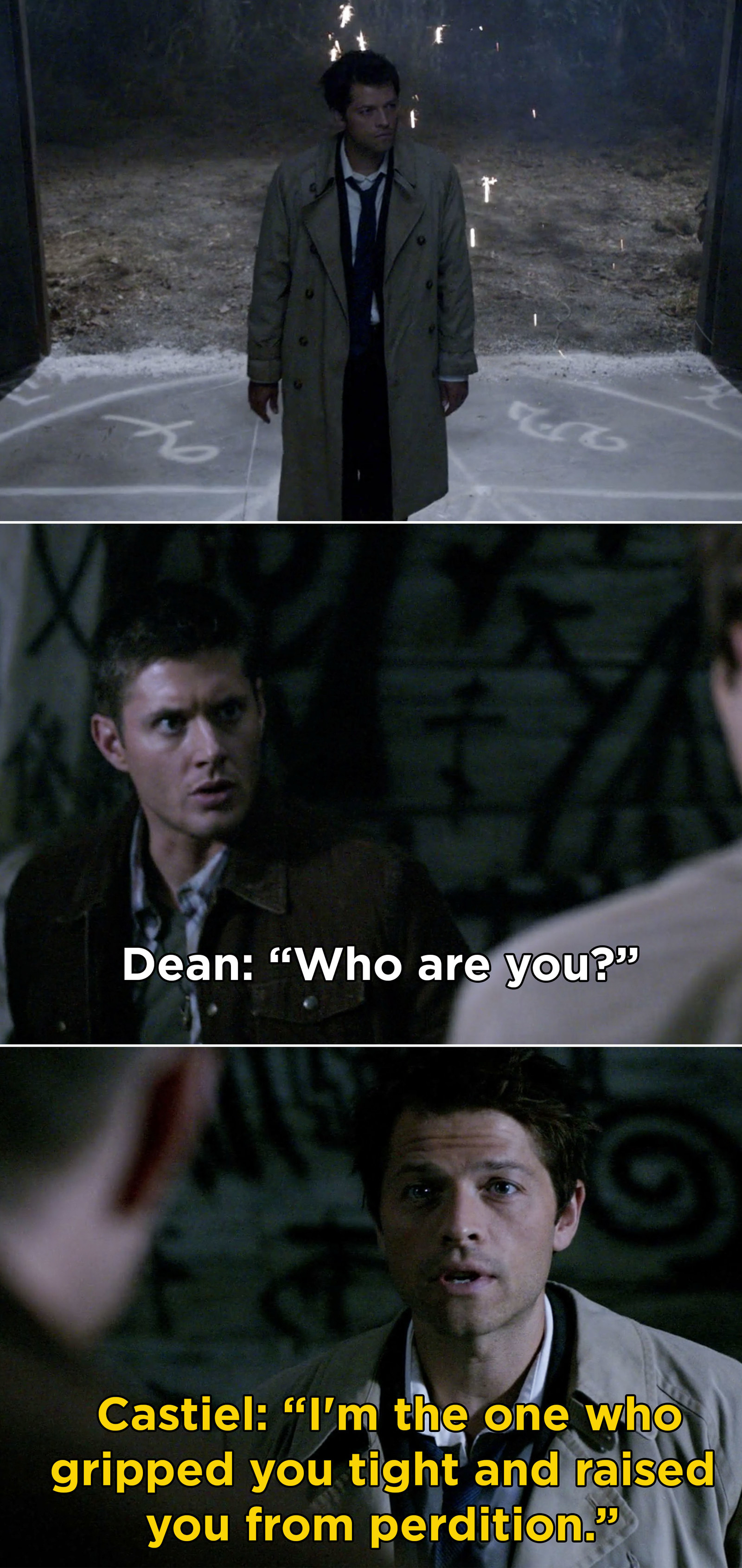 "Castiel from  Supernatural  -  ""He had such a kick ass introduction. He took getting shot and stabbed like a champ and then, to top it all off, he did a puppy-like head tilt while talking to Dean.""  — clairew469e28fce"