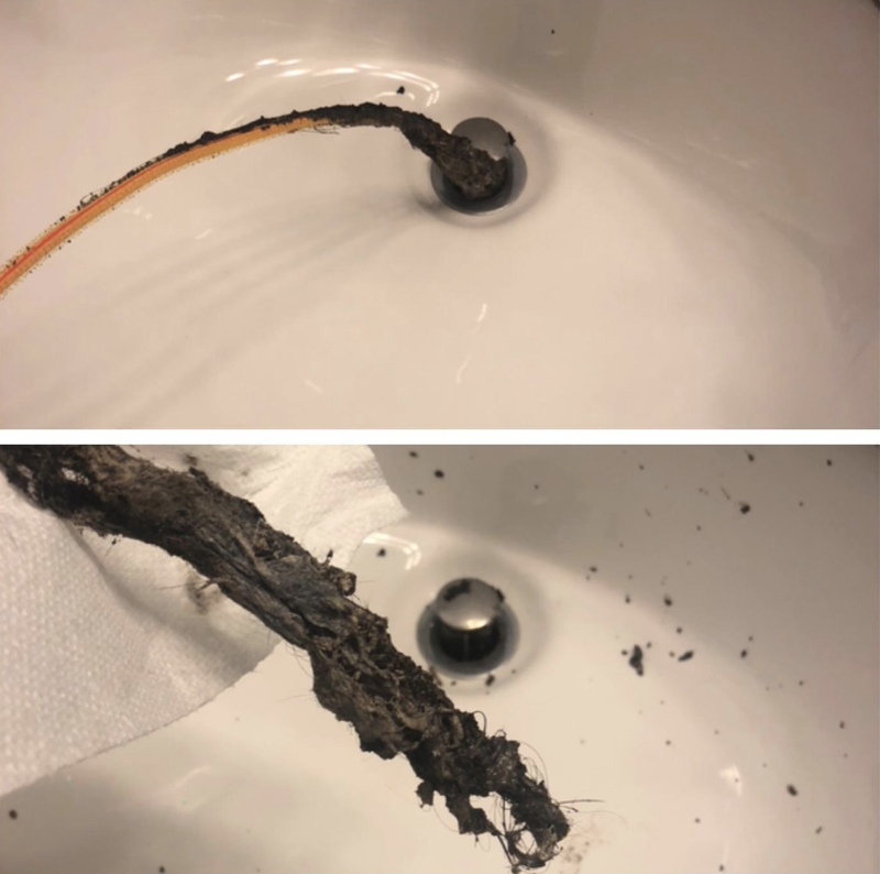 """Just try not to hurl in the process. You don't even have to take apart the drain to use it; it'll slide right down.Promising review: """"Nothing was fixing our bathroom drain issues in the sink AND the tub. The tub was getting so bad that it was dangerous to stand in the shower, because the gross scum buildup made the tub so slippery. Then I ordered this. I was convinced we were going to have to hire a plumber to rip out the whole bathroom to find the problem. I could not believe — it didn't get stuck and all the disgusting gross crap that came out of the sink drain! I should have been wearing a rain suit with a scuba mask and I definitely should have moved our toothbrushes away from the splatter I wasn't expecting. I repeated this process in the bathtub drain, using the same FlexiSnake. I could not believe what and how much came out. I sent photos to my roommates so they would think I was a genius who spent hours fixing this problem and they'd be grateful and buy me dinner. But, honestly, it took about five minutes (shh)."""" —ExPatInAsiaGet it from Amazon for $5.28.Check out more gross info and pics in Hundreds Of People Love This Drain Snake, And The After Photos Have Me Gagging."""