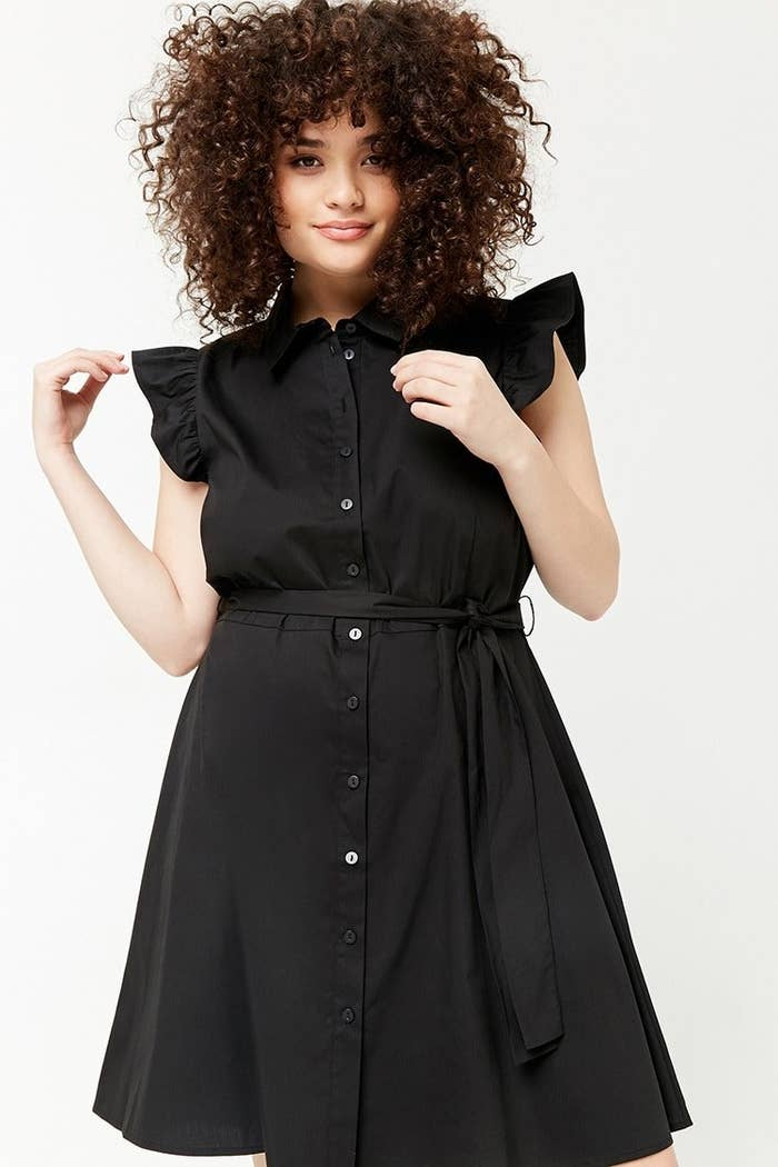 559762febe8 A ruffle-sleeve shirt dress perfect for both