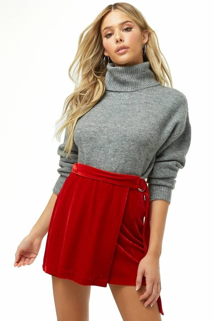 cd1fa86ee6595 23. A belted velvet mini skirt you can pair with any darn top. Sweaters