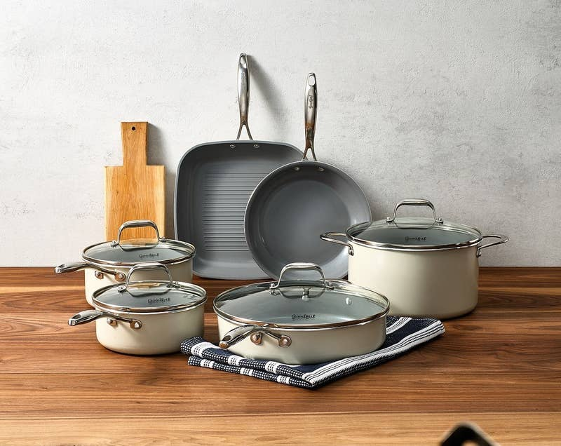 """The set includes a 9.5"""" fry pan, a two-quart saucepan with lid, an 11"""" grill pan, a three-quart saucepan with lid, a four-quart jumbo cooker with lid and helper handle, a six-quart Dutch oven with lid and a recipe booklet. Everything is dishwasher safe and can be used on all types of cooking surfaces. You're welcome.Promising review: """"I come from a background in restaurants and these pans are just awesome. I have been looking for years and wanted to buy stainless, but didn't want to spend a fortune. Best thing I ever did was buy these. Not only are they lovely to look at, but they brown evenly and boil quickly. I just made a large batch of spaghetti sauce and rinsed the pan, which came out clean with a small amount of dish soap."""" —NonaGet them from BuzzFeed's Goodful line, sold exclusively at Macy's for $149.99 (originally $214.99, get an extra 20%-off with code LOVE)."""