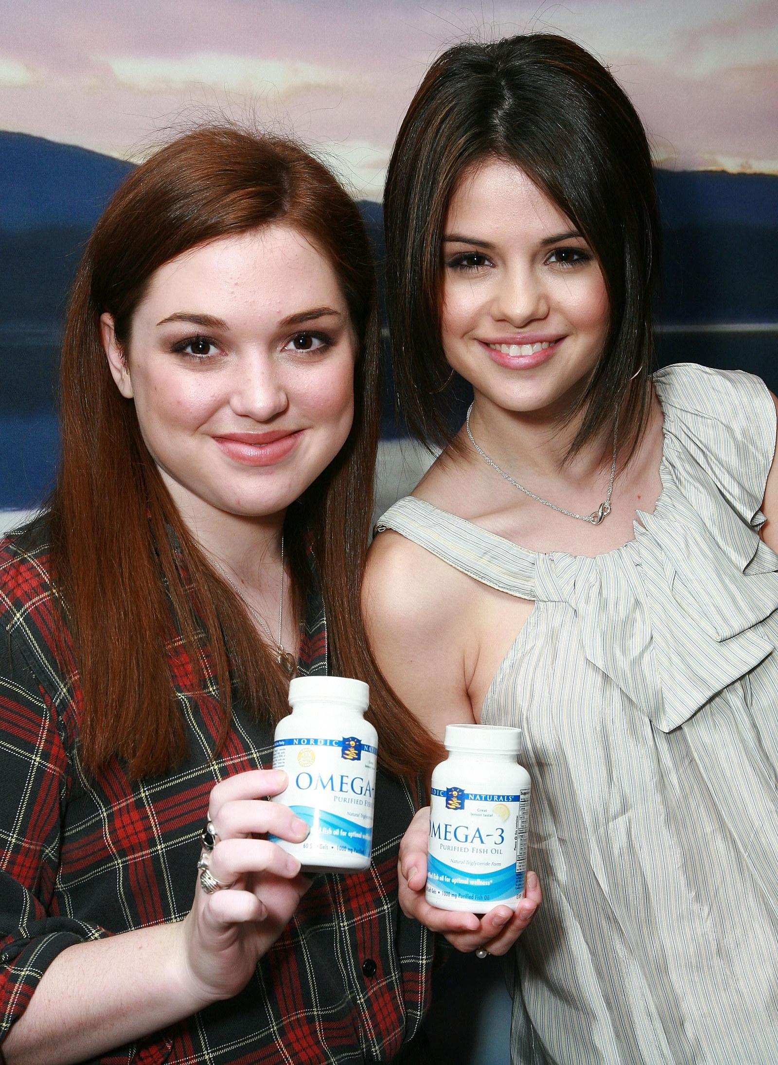 Selena Gomez and some Omega-3 pills.