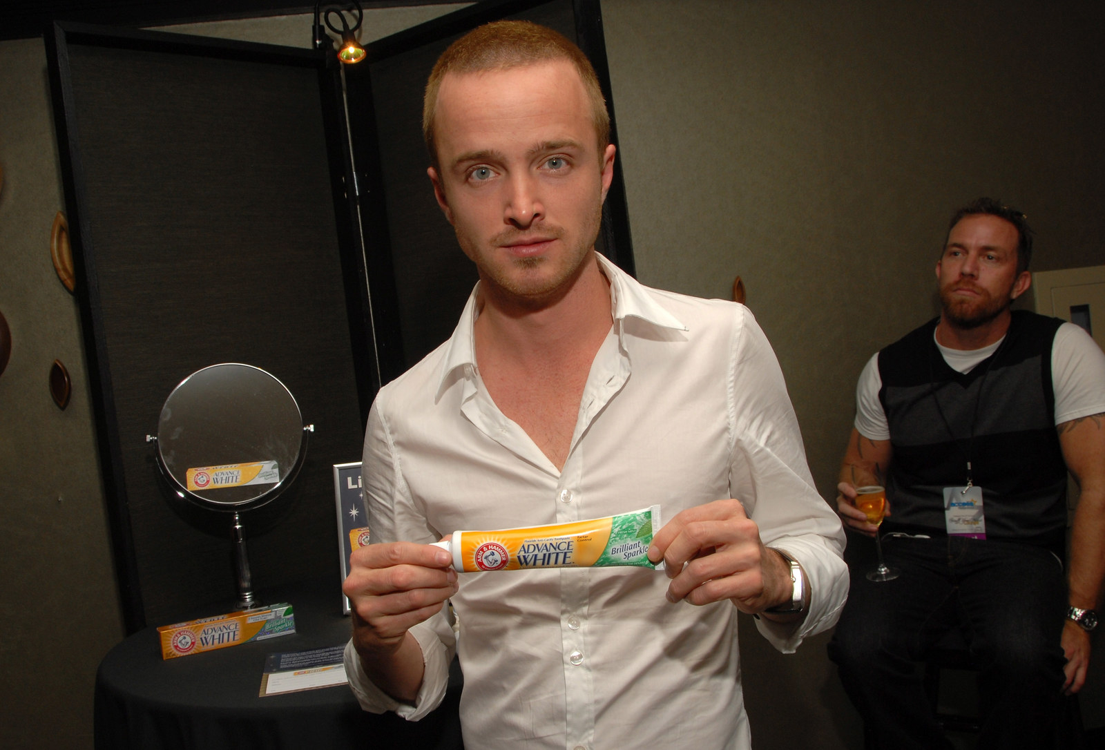 Aaron Paul and a tube of toothpaste.