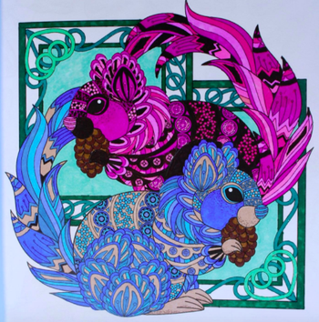 reviewer image of a page colored in with bright colors