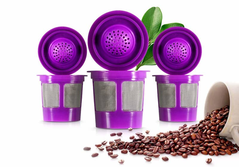 """Promising review: """"I am more than pleased with my K-cups. I find they don't require as much coffee as my old ones to get the same fully-satisfying brew. They are easier to clean than the heavier, three-part reusable ones I've had for years. Now I just shake out the spent grounds and give the one-piece cup a quick rinse. With four, I only have to do this once a day. Also, having multiple cups speeds up serving coffee to a group. Each guest chooses his/her preferred brand or blend, several of which I keep on hand, as well as the half-decaf mix I use. Lastly, I've discovered I can place the filled cup into the holder in any orientation, without taking the trouble of lining it up with the arrow. It still works perfectly. I would enthusiastically recommend this product to anyone."""" —W.E. KingGet four cups from Amazon for $8.95."""