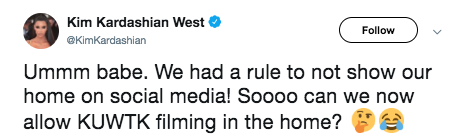 """After Kanye posted the pictures above, Kim was mad and """"yelled"""" Kanye on Twitter."""