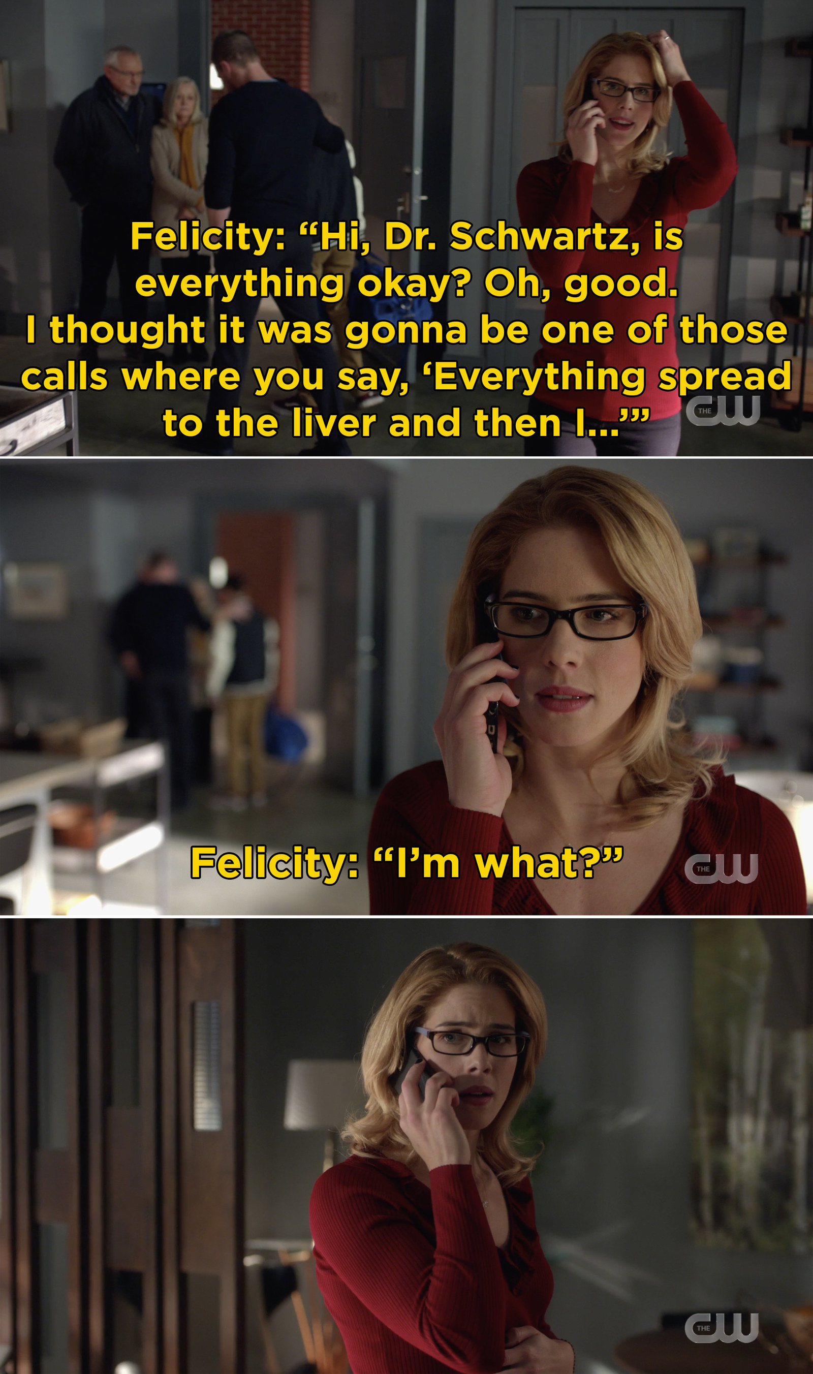 First, Arrow revealed that Felicity is pregnant and I'm pretty sure my heart skipped a beat upon hearing the news.