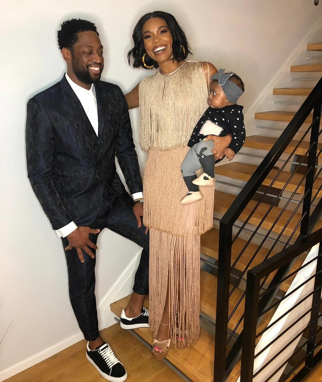 """Gabrielle Union and her daughter Kaavia celebrated Dwyane Wade's """"one last dance"""" with the Miami Heat."""
