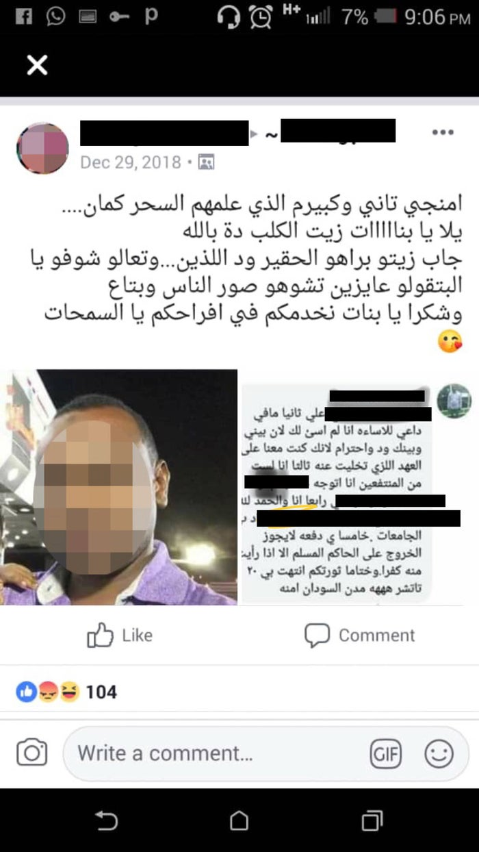 "A post within one of the groups, ""A major informant and the one who taught them the ropes. Come on girls, get his info, the despicable dog. Funny how they say we ruin THEIR reputation."""