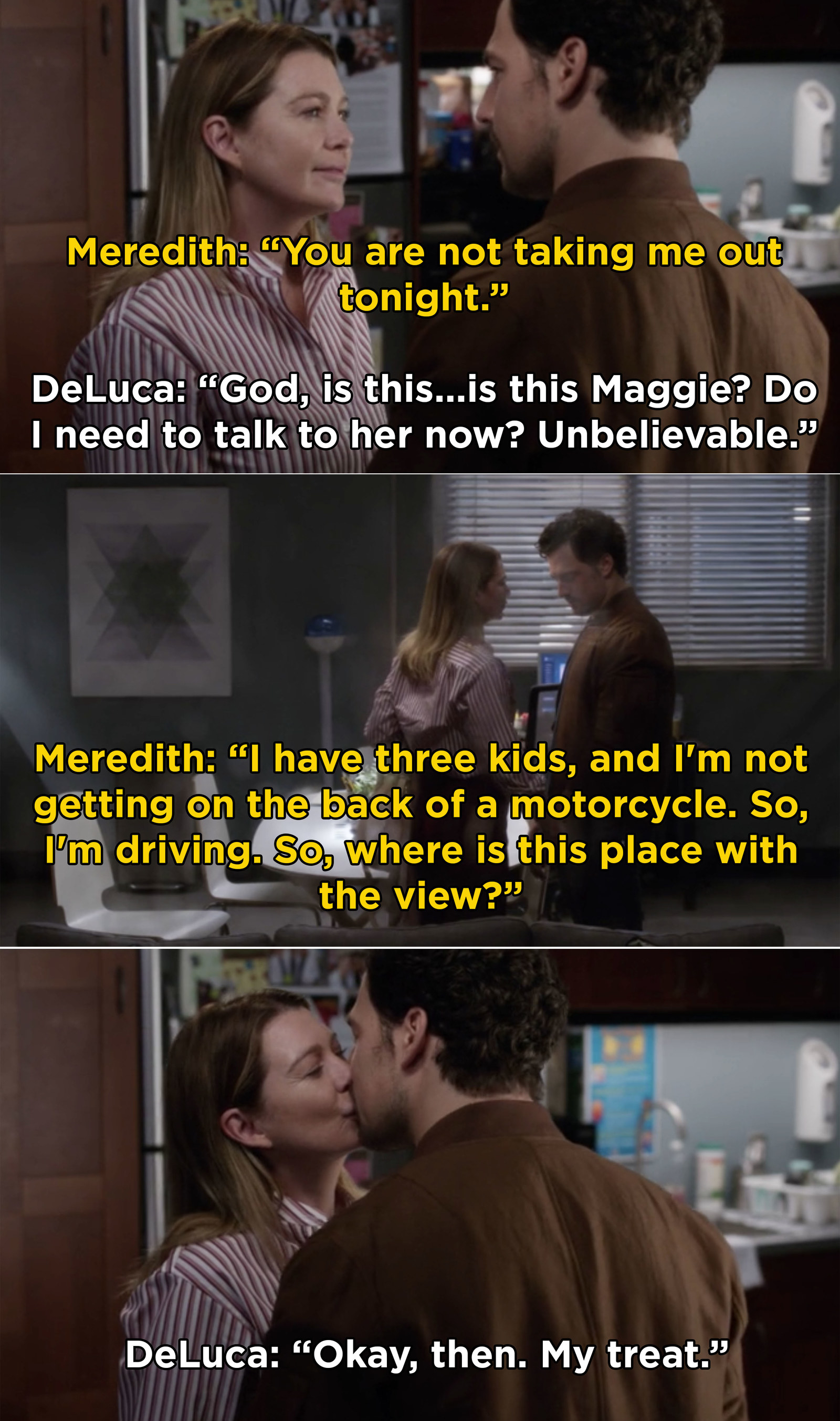Also, Meredith and DeLuca ~officially~ got together when they went on their first date. And, in case you're wondering, I'm 100% on board with this couple now.
